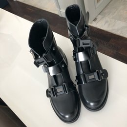 gladiator tassels boots NZ - 2019 Black Women Shoes Genuine Leather Ankle Motorcycle Boots Riding Gladiator Bootie Flats Cutout Square Heel Buckle Boot Mujer Sapatos