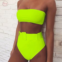 mini bikini tops NZ - Mini Bikinis 2020 Mujer Neon Swimsuit Female Swimwear Women Bandeau Top Sexy Green Suit Bathers Waist Trainer Bikini Set