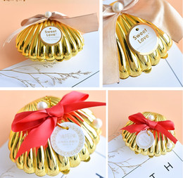chocolate shells wholesale UK - New Sea Shell wedding party favor holder chocolate gift candy boxes with butterfly knot Wedding Party shower Favors gifts