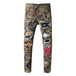 boys patched jeans Canada - Men's Classic Camouflage Printed Patch Skinny Locomotive Boys Jeans Hole Slim Fit Hip Hop Black Trousers Pants