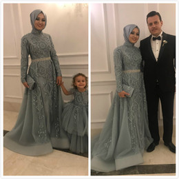 Pink bridesmaid dresses crystals online shopping - 2019 Aso Ebi Arabic Muslim Lace Beaded Evening Dresses Long Sleeves A line Prom Dresses Tulle Formal Party Second Reception Bridesmaid Gowns