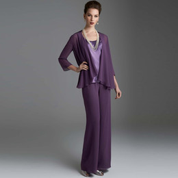 b2340aad0fe Elegant Purple Long Sleeves Mother Of The Bride Pant Suits With Jackets  Wedding Guest Dress Plus Size Chiffon Mothers Groom Dresses