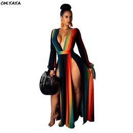 2ee2ff9958d Rainbow Maxi Dresses UK - 2019 new women long sleeve rainbow stripes deep  v-neck