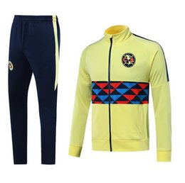 8d12cab7982 2019 2020 Jacket Club America Mexico LIGA MX Club America Jacket Soccer Tracksuit  Club A.PULIDO Yellow Full Zipper Football Sports Suit .