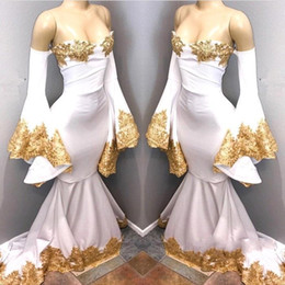 Off White Fall Dresses Australia - 2018 White Flare Long Sleeves Mermaid Prom Dresses Off The Shoulder Gold Lace Applique Beaded Sweep Train Evening Gowns Formal Party Dresses
