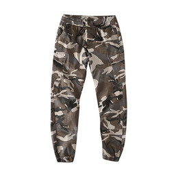 zipper pants for boys NZ - Japanese Harajuku Vintage Camo Cargo Pants for Men Urban Boys Elastic Waist Drawstring Camouflage Cargo Pants Plus Size