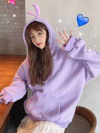 Cartoon Rabbit Hoodies Australia - 19 NEW Hipster Kawaii Rabbit Cartoon Hoodie Kpop Japanese Hit Color Pink Sweatshirt Harajuku Fleece Warm Cute Winter Coat Women