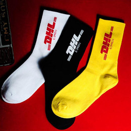 Wholesale white cotton crew socks online – funny Mens Crew Cotton DHL Express Hip Hop Socks Vetements Style Letter Print hipster Men Woman Fashion Sock Skaterboard Streetwear Baskets