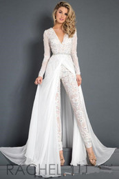 Wholesale plus size pleated jumpsuit resale online – 2019 White Lace Chiffon Wedding Dress Jumpsuit With Train Modest V neck Long Sleeve Beaded Belt Flwy Skirt Beach Casual Jumpsuit Bridal Gown