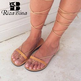 0b799e5eced7 RIZABINA Women Flats Sandals Roman Style Strappy Shoes Women 2019 Summer  Beach Casual Lace Up Gladiator Sandals Size 35-43