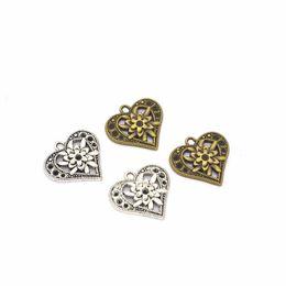 $enCountryForm.capitalKeyWord Australia - Bulk 200pcs lot Flower Heart Charm Pendant,Good For DIY Bracelet, Jewlery Making, Antique silver & Bronze colors