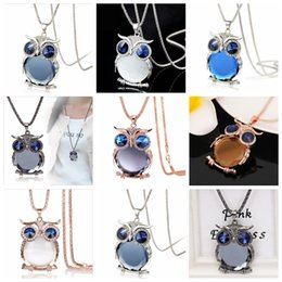 Girls stylish chain online shopping - 10 style owl necklace lady crystal long pendant Sweater Chain Long Necklaces Jewelry Ornaments Exquisite stylish necklace