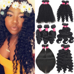 inch indian deep wave hair 2019 - Brazilian Virgin Hair Kinky Curly Bundles Weft Unprocessed Peruvian Malaysian Indian Human Hair Weaves Curly Deep Water