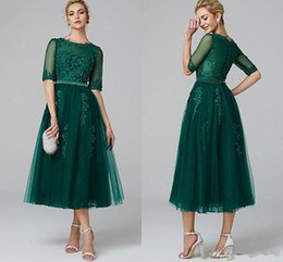half sleeve tea dress Australia - Dark Green Tea Length Tulle A Line Prom Dresses Lace Applique Half Sleeves Maid of Honor Bride Dress Buttons Back Short Party Gowns