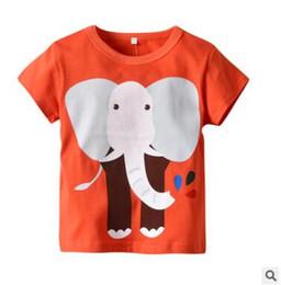 kids elephant top 2019 - Boys and Girls T shirt 2019 Summer Short Sleeve Cartoon Elephant Giraffe Printed Cotton Tops Boys and Girls Clothing Kid