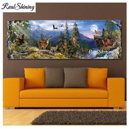 $enCountryForm.capitalKeyWord Australia - wholesale Square Round Diamond Embroidery Moon forest,deers,bear,wolves nature 5D DIY Diamond Painting Cross Stitch Needlework FS4911