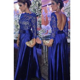 $enCountryForm.capitalKeyWord Australia - 2020 Royal Blue Lace Backless Special Party Dresses Lace Long Sleeve Evening Dresses A Line Prom Dresses Vestido Formal Gowns