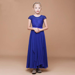 3091be38759c 2019 New Arrival Pretty Girls' Royal Blue Lace Dress Birthday Party Ankle Length  Style Child Dancing Chiffon Dress