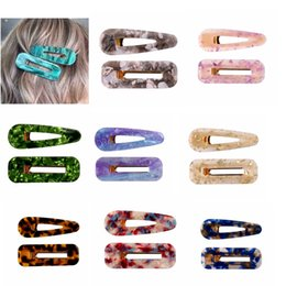 $enCountryForm.capitalKeyWord Australia - Acrylic Hair BB Clip Snap Barrette Accessories Hairpin Girls High Quality Acetic Acid Rectangle Waterdrop Hairgrip Gift package 10pair FJ902