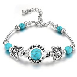 Wholesale Europe Fashion Jewelry Women s Turquoise Beads Charms Bracelet Lady Beads Bracelets S153