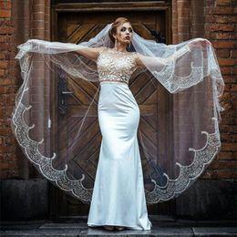 $enCountryForm.capitalKeyWord Australia - 2019 Cathedral Length Long Wedding Veils Lace Edge One Tier Church Bride Accessories Cheap Bridal Veil With Comb