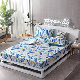 Quality Textiles Australia - 3pcs with case abd Fitted Sheet Printed Solid Mattress Cover With Elastic Band Bed Sheet Single, double bed Home textile