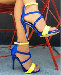 Sandals European Australia - Sexy2019 European Latest Sandals Fish Mouth Woman Fine High With Nightclub Spelling Color Shoes