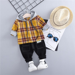 Boy Chinese Suit Australia - 2019 New Spring Baby Boys Clothing Kids Suits Fashion Hooded Plaid Shirt Pants 2Pcs Sets Children Costume Toddler Infant Clothes