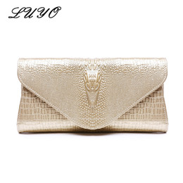 women summer clutch NZ - LUYO Fashion Genuine Leather Crocodile Grain Handbags Women Bags Chain Gold Day Clutch Crossbody Bag Summer