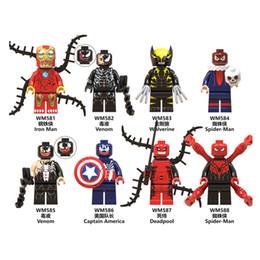 Spiderman Captain America Figures Australia - Spiderman Toys Building Blocks Iron Man Deadpool Venom Captain America Avengers Wolverine Toys Figure Mixed marvel heroes jouets pour enfant