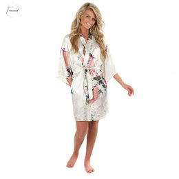 Kimono peacocK online shopping - White Sexy Printed Female Mini Silk Robe Kimono Yukata Night Dress Xxxl Gown Flower Peacock S M L Xl A108