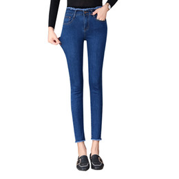 sexy black leather hole NZ - 2020 new denim stretch high waist Skinny Sexy jeans women stretch trousers Blue Grey Black Slim feet Casual Pencil pants