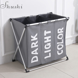 Shushi Hotselling Water Proof Three Grid Laundry Organizer Bag Dirty Laundry Hamper Collapsible Home Laundry Basket Storage Bag T190708 on Sale