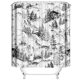 snow hooks NZ - Gift for housewarming sketch landscape snow mountain 3D Digital Printing Printed Waterproof Bathroom Window Shower Curtains With Rings Hooks