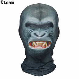 face mask fun Australia - New!!!Halloween Party Mask Fun Monkey Headgear Mask Cosplay Digital Print Novelty Headgear Cotton Men Women Cosplay Face Mask
