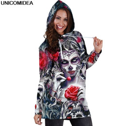$enCountryForm.capitalKeyWord NZ - Skull Long Sleeve Bodycon Women Mini Dress Rose Floral Hoodies Sweatshirt Dress Autumn Femme Hooded Vestidos De Festa Jurken 3xl Q190419