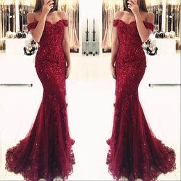 80e1e0f2f3b4 2019 Prom Dress Burgundy Lace Mermaid Appliques Off Shoulder Evening  Dresses Vestido De Festa Beaded Sequins Long Gowns