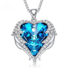 $enCountryForm.capitalKeyWord Australia - Luxury Heart Swarovski Pendant Necklaces Crystal Pendant Blue Ocean Heart Love Pendant Necklace For Women Girls Gifts