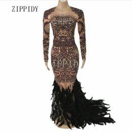 $enCountryForm.capitalKeyWord UK - Black Feather Sparkly Full Rhinestones Long Dress Women's Birthday Dress Nightclub Bar Singer Dancer Wear 2 Colors Tail