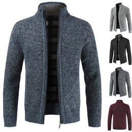 Wholesale collar knitwear resale online – Men Mandarin Collar Knitwear Zipper Sweater Cardigan Jacket Long Sleeve Coat