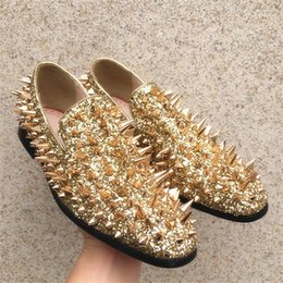 Gold Casual Shoes Men Australia - Spiked Men Casual Shoes Gold Rivet Flat Loafers Concise Round Toes Slim Bling Sequins Gold Male Wedding Shoes Men Shoes