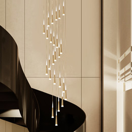 light cones NZ - Modern Cone Led Pendant Light Staircase Chandeliers Cone Shape Hanging Lamp for Staircase Bar Dining Room White Gold Black Coffee Body Color