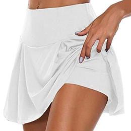 2020 Sport Tennis Yoga Skorts Fitness kurzen Rock-Badminton atmungsaktiv schnell trocknend Frauen Sport Anti Exposure Tennisrock im Angebot