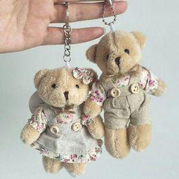 Small Toy Bears Australia - Kawaii Teddy Bear Rabbit Couples Plush Toy Stuffed Animal Soft Cloth Doll Bears Stuffed Plush Pendant Wedding Gifts Key Chain Accessories
