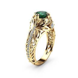 $enCountryForm.capitalKeyWord Australia - Europe and the United States popular grandmother green zircon woman diamond ring fashion luxury plating 14K gold engagement ring jewelry