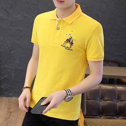 $enCountryForm.capitalKeyWord NZ - Mens polo shirt trend shortsleeved Tshirt Lapel summer halfsleeved boysclothing trend brand Tshirt mens pure cotton