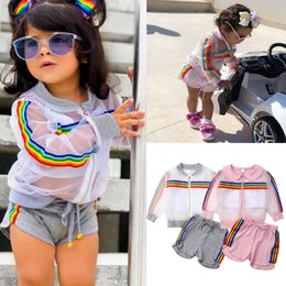 $enCountryForm.capitalKeyWord NZ - 2019 New Toddler Girl Clothes Set Summer See Through Coat Crop Top Shorts Baby Girls Long Sleeve Coat+Vest+Short Pants Outfits