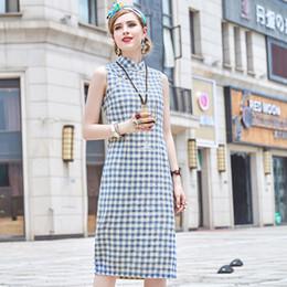 $enCountryForm.capitalKeyWord Australia - Women's Long Chinese Plaid Dress Cheongsam Qipao Retro Han Clothes Cotton Linen Dress Gown