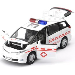 Wholesale Toyota Pury Supplied Ambulances Light Alloy Car Model Toy Car Decorative Furnishing Articles
