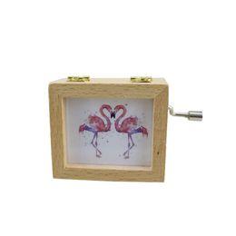 $enCountryForm.capitalKeyWord NZ - Flamingo Photo Frame Music Box Gift Decoration Elm Hand-Cranked Music Box Creative Boutique Birthday Gift Decoration